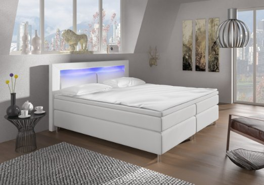 wohnen luxus boxspringbett mit led beleuchtung. Black Bedroom Furniture Sets. Home Design Ideas