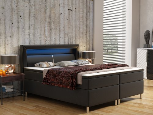 wohnen luxus boxspringbett mit led beleuchtung boxspringbett test 2019. Black Bedroom Furniture Sets. Home Design Ideas